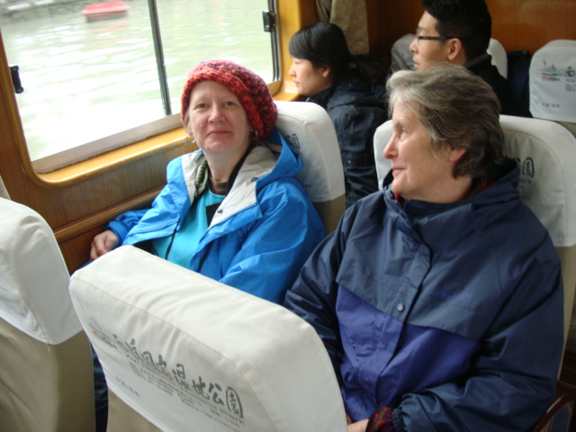 Picture:  Mary and Kay on the canal boat, Hangzhou, China