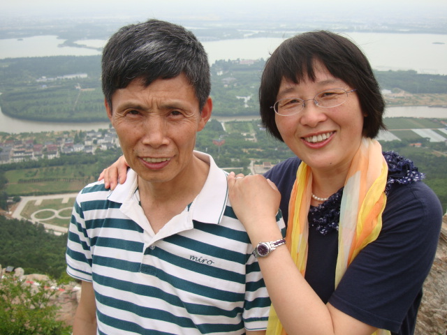 Mr. and Mrs. Zhu at the top of Yu Shan.  Chang  Shu, China