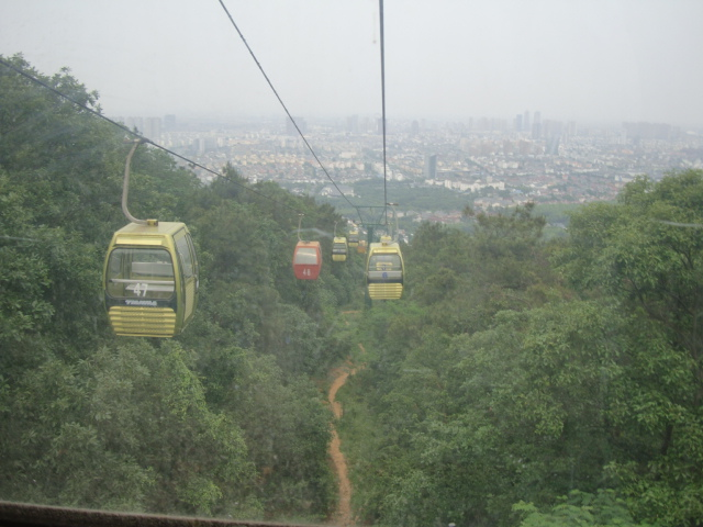 Picture: Cable cars up Yu Shan, in cars that were suspended saunas.