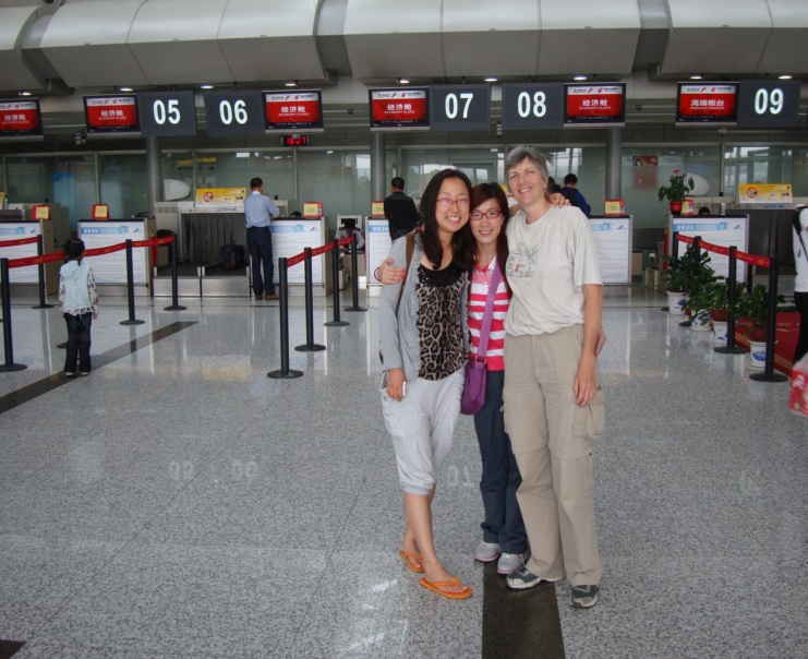 Picture:  Ruth and Panda went with me to see Guo Wei off at the airport in Wuxi.  She's heading back to Shenzhen and her job there.  Wuxi, China