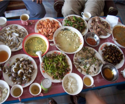 Picture:  About a third of the feast that Guo Wei's mother served us.  Rizhao, China, 2005