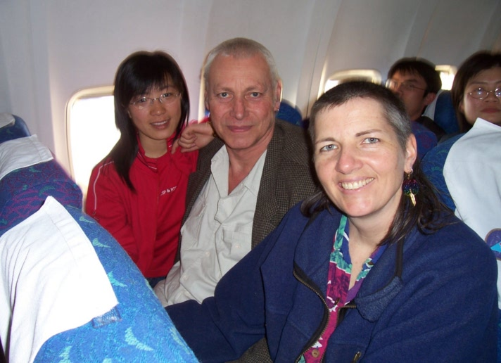 Picture: Guo Wei, David and Ruth on the plane to  Hainan Island, China 2005