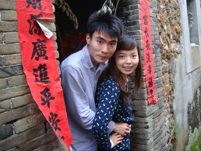 Picture;  Xiao Qiang and Jenny in her old village.  Shuibian, Jiangxi, China