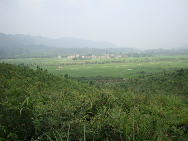 Picturee:  Jenny's village in the distance.  Shuibian, Jiangxi, China