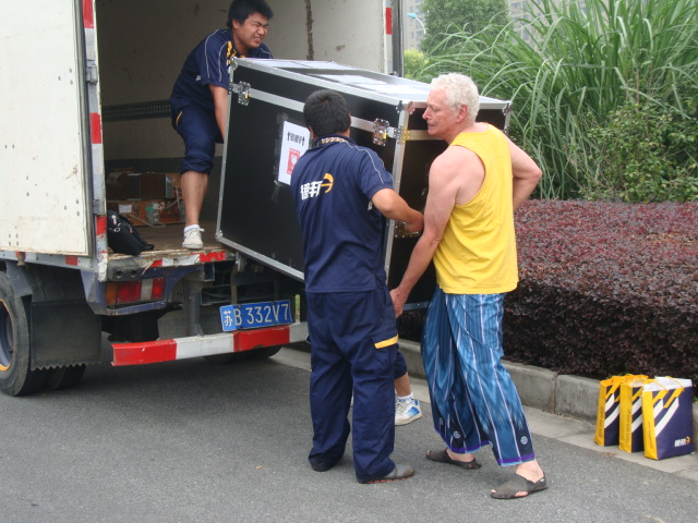 Picture:  Loading the big box onto the truck.  Jiangnan University, Wuxi, China