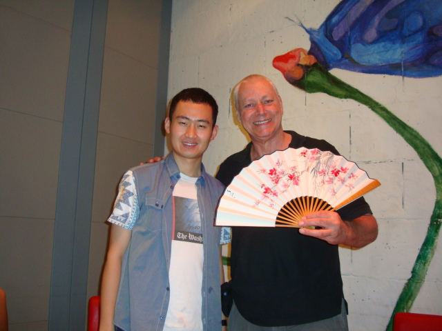Picture:  Frank Chen and David with Frank's present.  Zen restaurant, Raffles Plaza, Shanghai