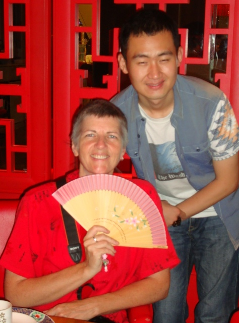 Picture:  Frank Chen and Ruth with Ruth's present.  Zen restaurant, Raffles Plaza, Shanghai