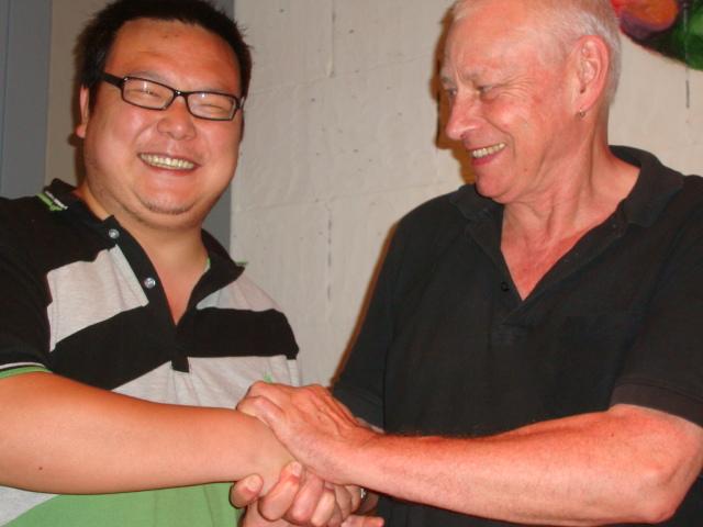 Picture:  Armstrong and David.  Zen Restaurant, Raffles Plaze, Shanghai, China