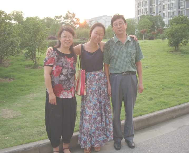 Picture:  Panda Wang with her parents.  Jiangnan University, Wuxi, China